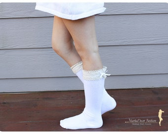 Boot Socks Kids Lacey Knitted Legwarmers Boot Topper Socks with Trim in White
