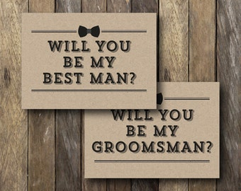 Printable Groomsman Card - Will You Be My Best Man - Instant Download - Best Man Card - Groomsman Cards - Will You Be My Best Man Card