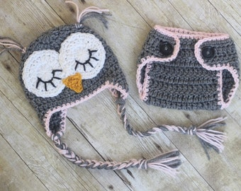 Baby Owl Outfit Crochet Sleepy Owl Baby Hat and Matching  Diaper Cover Set Crochet Owl Hat Newborn Owl Outfit Crochet Owl Outfit