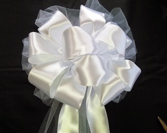 Wedding Pew Bows, Party Bows,  Present Bows, Bridal Shower, Baby Shower, Church Bows, White Ribbon Bows
