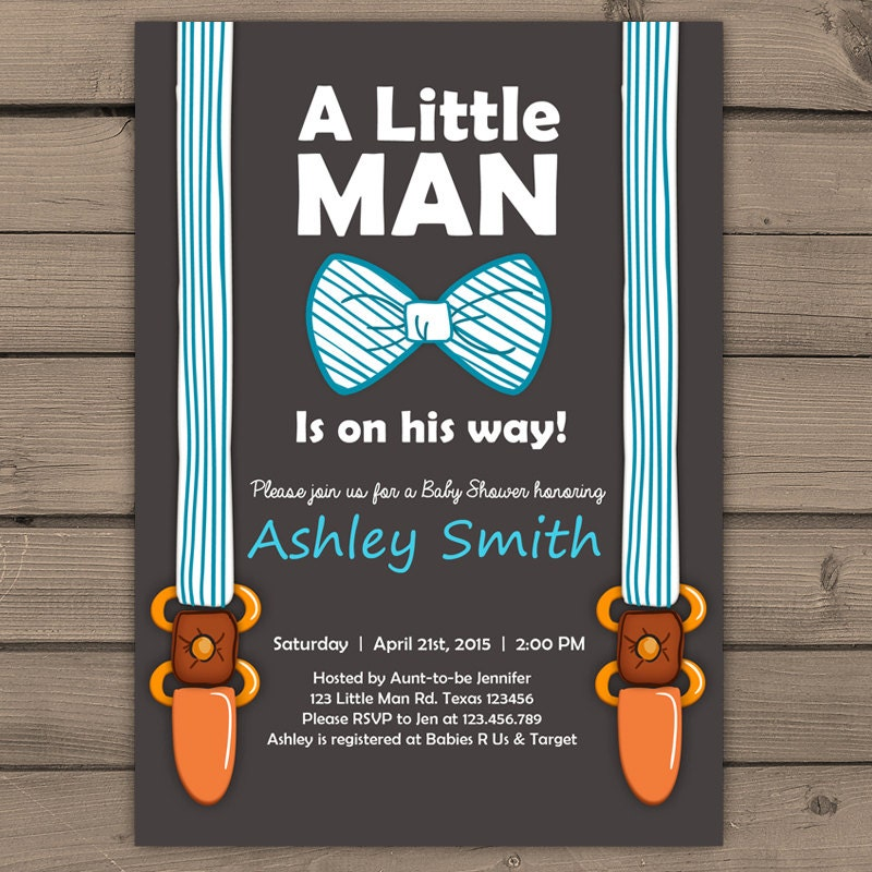 Little Man Baby Shower Invite Baby Shower Invitation Baby Boy