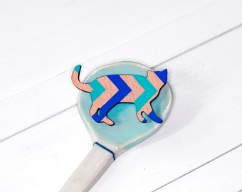Turquoise and blue Chevron Cat Stare Wooden brooch