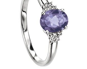 Diamond and Iolite Engagement Ring // Iolite Ring // September Birthstone // Violet Ring