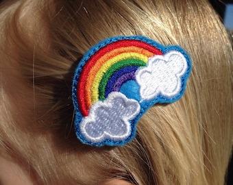 """Rainbow Hair Clips Set, 2"""" Rainbow and Clouds Felt Clippies, 2 inch Snap Clip Rainbows, Rainbow Clouds Hair Decoration, Embroidered Rainbows"""