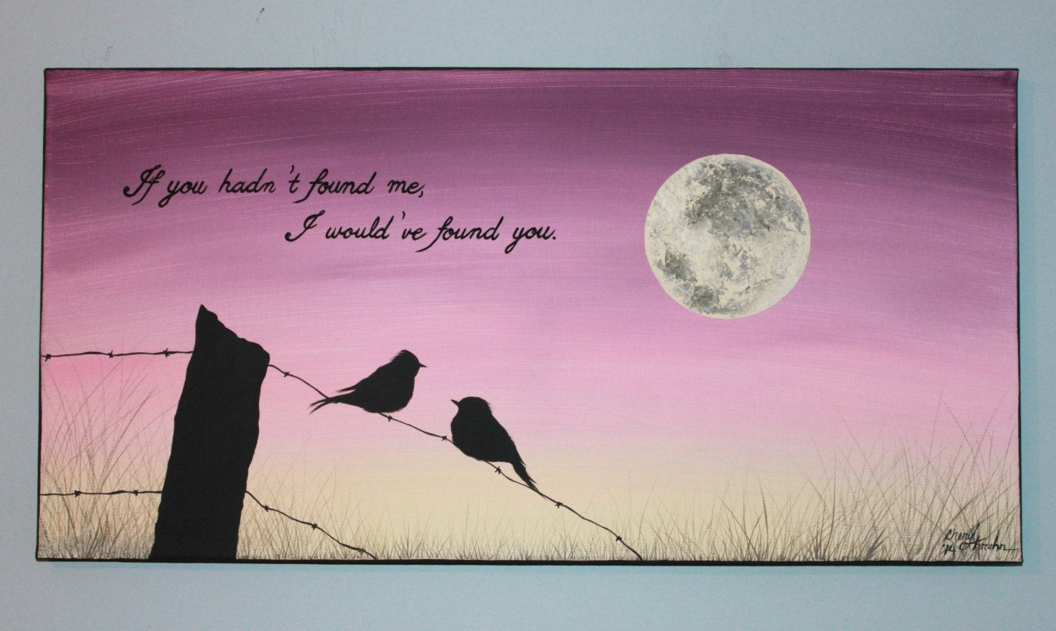 Love Birds Silhouette Painting Moon Love Birds Silhouette