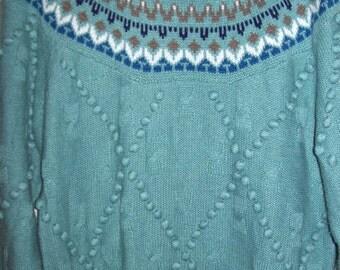 Fair Isle pom pom popcorn trimed sweater, women's med. turquoise gorgeous !