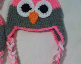 Crochet owl hat, grey & hot pink, infant size, toddler size, child size, adult size, owl hat, sleepy owl hat, awake owl, newborn photo prop