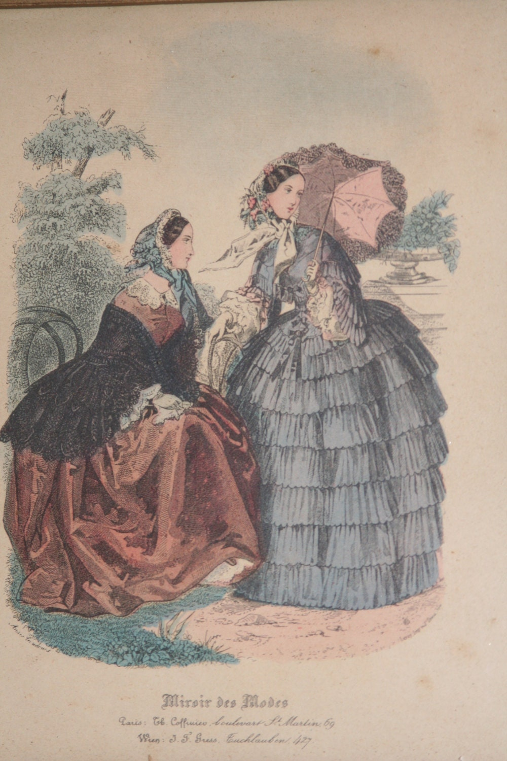 Miroir des modes print fashion print hand colored print for Miroir des modes