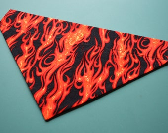 Flame dog bandana slides over the collar