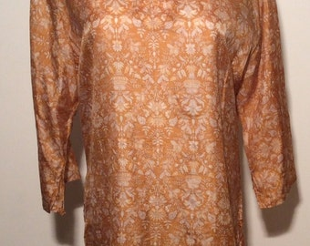 Vintage 1990s Gold/Yellow/White Boho/Tribal/Ethnic 100% Silk Tunic, Size Large