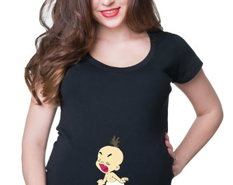 Maternity Top Let Me Outta Here T-Shirt Birth Announcement Tee Shirt