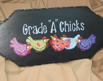 Grade A Chicks plaque w/ 5 colorful chickens