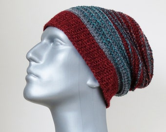 Red Beanie, Men's Grey Slouchy, Burgundy Beanie, Cranberry Winter Hat with Stripes, Men's Gifts, Vegan Hat