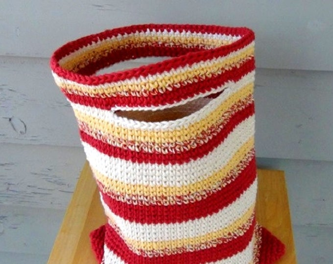 "Crochet Tote Bag - Cotton Tote Bag - 10"" x 13"" Country Red, Yellow, White, Variegated Stripe Sac"