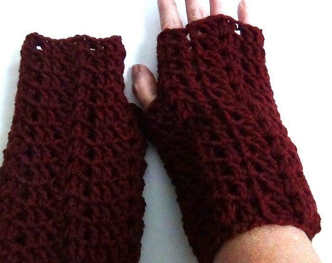 Dark Red Fingerless Gloves, Crocheted Claret Red Wrist Warmers
