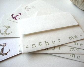 Anchor Card Set: Stationery Set Anchor Me hand printed gift enclosure card set