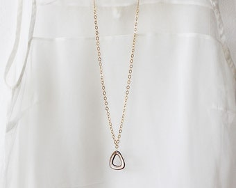 Long Shell and Gold Necklace , Gold Plated Chain and a brown Shell Pendant