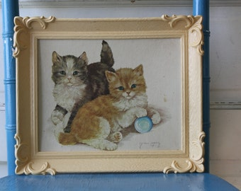 Vintage Kitten Lithograph Print Grace Lopez Plastic Frame