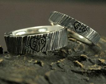 Personalized Wedding Rings--4 Ever Sweethearts Set--Custom Tree Bark Rings--Initials Carved into a Tree Ring Set--Silver Wedding Bands