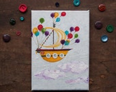 Flying Sailing Ship. Original yellow boat illustration with white Striped Sail and Colorful Balloons acrylic handpainting on cavans OOAK