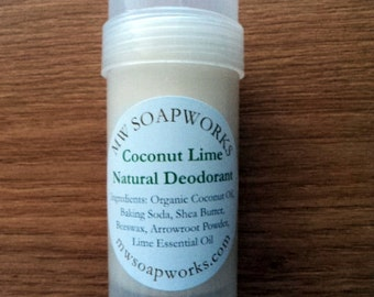 Natural Deodorant made with Organic Coconut Oil // Available in Coconut Lime, Lavender Tea Tree, and Unscented