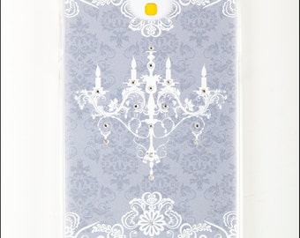 Diamond Samsung Galaxy S4 Case - Hard Back Case FREE Screen Protector - Grey Chandelier