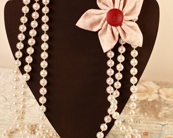 Pearl Necklace with Sewn Button Material Flower