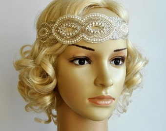 Rhinestone pearls flapper Gatsby Headband, Wedding Crystal Bridal Headband, Wedding Headpiece, Bridal Headpiece, 1920s Flapper headband
