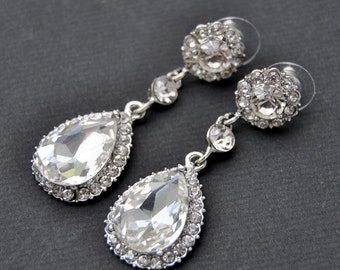 Crystal Bridal Earrings Wedding Long Bridal earrings Bridal chandeliers Bridesmaids Chandelier Great Gatsby 1920s Jewelry Crystal Earrings