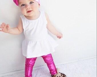 Hot Pink Metallic Leggings (Leggings Only)