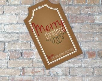 Rustic Christmas Gift Tag {Digital Item}