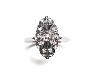Vintage 14K White Gold Diamond Ring Edwardian Design Size 8.5
