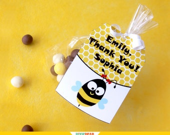 Bee Tags - Bee Favor Tags - Bumble Bee Party - Bee Thank You Tags - Bee Birthday - Bee Party - Bumble Bee Birthday (Instant Download)