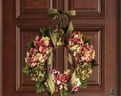 Summer Wreaths | Hand Blended Hydrangea Wreath | Front Door Wreaths | Summer Door Wreath | Hydrangea Wreath | Shabby Chic