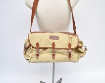 vintage leather canvas messenger bag EDDIE BAUER bag tote distressed CAMERA bag