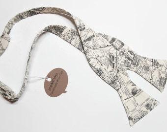 Freestyle Vintage Paris Map Bow Tie - Cartography Bow Tie - Map Bow Tie - Self-Tie Bow Tie - Paris Bow Tie - Paris Map Bow Tie