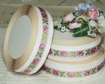 10y Full Spool Vintage SWISS ROSES RIBBON Trim for Doll Dress Millinery Hat Bonnet Ribbonwork