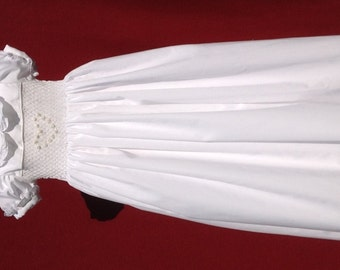 Elaborately hand embroidered and smocked christening gown - in french vintage design - heirloom quality