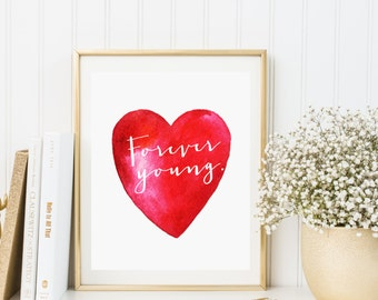 Print art heart red   Valentine's Day   Quote Print   Printable wall art decor poster   Instant download   Printable Poster.
