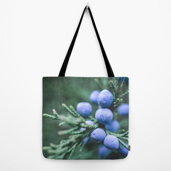 Nature Tote, Blue and Green, Winter Photography, Juniper Berries, Evergreen Tree, Midwest Images, Reusable Grocery, Travel Bag, Gym Tote