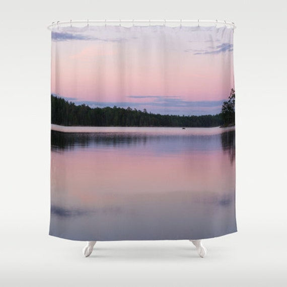 Shower Curtains, Purple and Pink, Pastel Colors, Bathroom Art, Bath Accessories, Boundary Waters, Colorful Sunset, Lake Photography