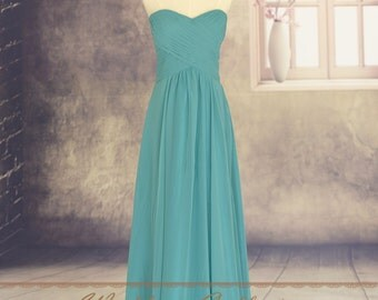 Hunter Chiffon Long Bridesmaid Dress Prom Gown Sweetheart Neckline