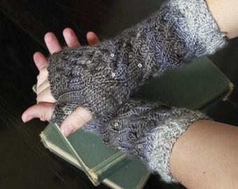 Knit fingerless gloves, Cabled fingerless gloves, Cabled fingerless mitts, fingerless mitts, wrist warmers, fingerless gloves,