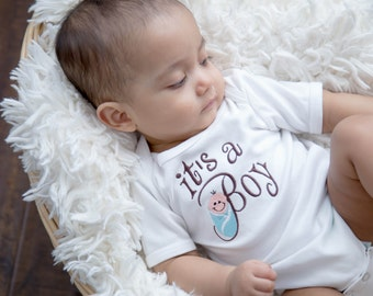 """Welcome Baby! """"It's a Boy"""" Embroidered Baby Bodysuit"""