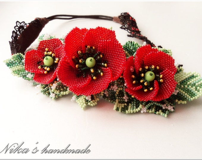Women's flower grecian Headband with Red Poppies made of czech beads in Ukrainian ethnic style