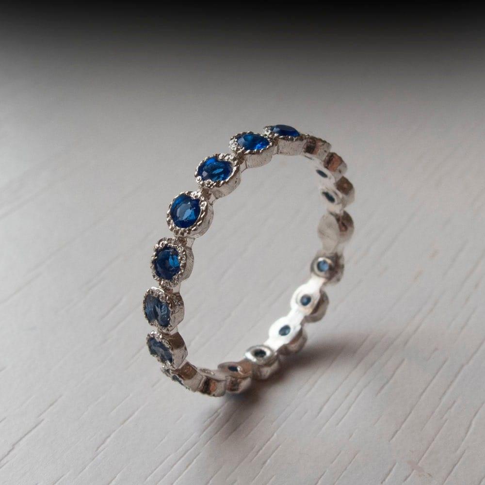 white gold sapphire eternity ring gemstone sterling by ardonn