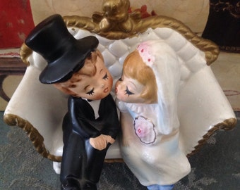 Vintage, Lefton, wedding cake topper, kissing bride and groom sitting on couch, figurine, #4645,