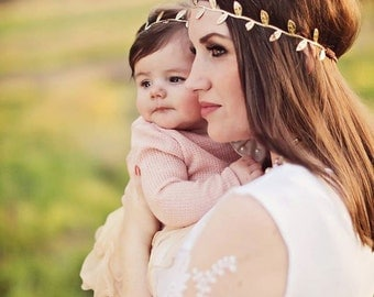 Mommy & Me Headband Set - Gold Leaf Headband - Matching Headbands - Boho Headbands - Mother Daughter Gold Leaf Headbands - Gold Boho Halos