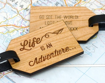 Personalised Luggage Tag, Travel Quote Tag, Personalized Luggage Tag, Travel Gift, Leaving Gift, Wooden Adventure Luggage Tag