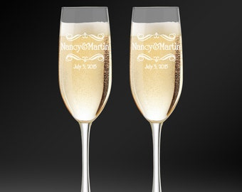 Personalized Toasting Glasses, Flutes For Bride & Groom, Wedding Champagne Glasses, Engraved Champagne Flutes, Toasting Flutes, Custom Flute